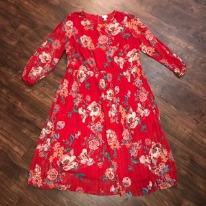 Plus Size Ava and Viv Red Floral Dress 2X